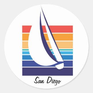 Pegatinas de Square_San Diego del color del barco Pegatina Redonda