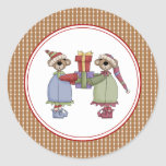 Pegatinas de Sr. y de señora Bear Christmas Pegatina Redonda