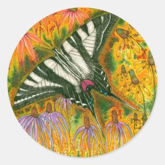 Pegatinas de Swallowtail de la cebra Pegatinas Redondas