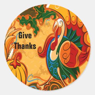 Pegatinas de Turquía de la acción de gracias Pegatina Redonda