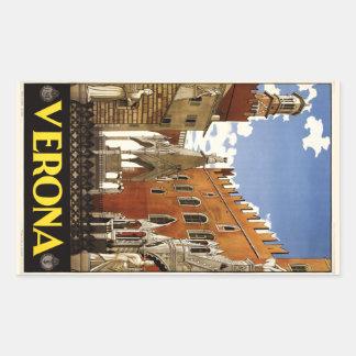 Pegatinas de Verona Italia del vintage Pegatina Rectangular