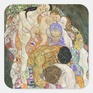 Pegatinas de vida y de la muerte de Gustavo Klimt Calcomanias Cuadradas