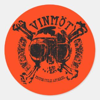 Pegatinas de Vinmot (negro del vintage) Etiquetas Redondas