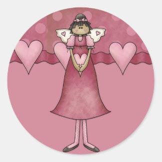 Pegatinas de Whimiscal:: Diseño del corazón del Pegatina Redonda