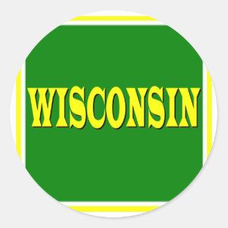 Pegatinas de Wisconsin LL Pegatina Redonda