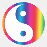 Pegatinas de Yin Yang del arco iris Etiqueta Redonda