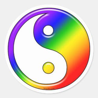 Pegatinas de Yin Yang del arco iris Etiquetas Redondas