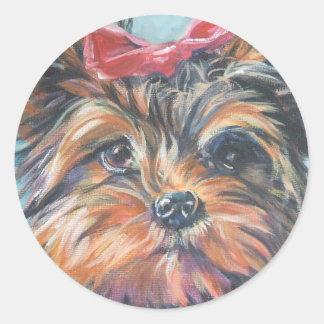 Pegatinas de Yorkshire Terrier Etiqueta Redonda