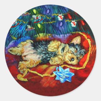 Pegatinas de Yorkshire Terrier Pegatina Redonda
