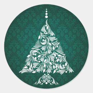Pegatinas decorativos del árbol de navidad pegatina redonda