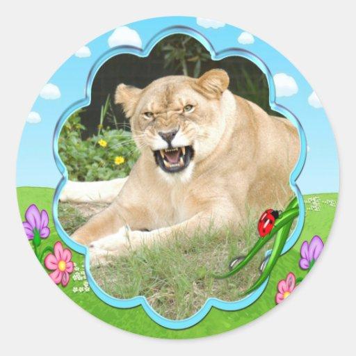 Pegatinas decorativos del león pegatina redonda