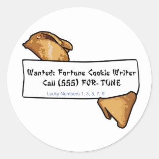 Pegatinas deformados del escritor de la fortuna de etiqueta redonda