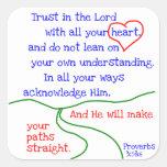 Pegatinas del 3:5 &6 de los proverbios pegatina cuadrada