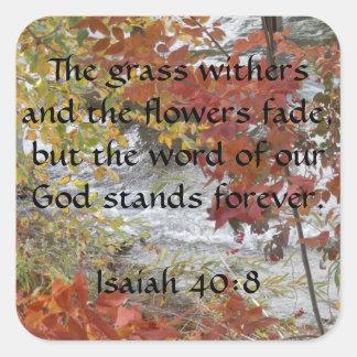Pegatinas del 40:8 de Isaías Pegatina Cuadrada