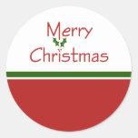Pegatinas del acebo de las Felices Navidad Pegatina Redonda