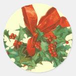 Pegatinas del acebo del trineo n del navidad del pegatina redonda