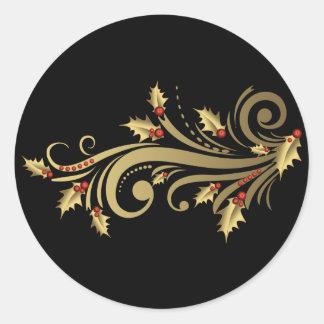 Pegatinas del acebo y de la voluta del oro pegatina redonda