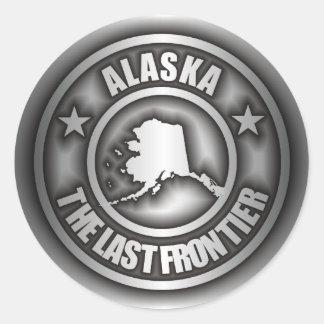 """""""Pegatinas del acero de Alaska"""" Pegatina Redonda"""