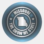 """Pegatinas del acero de Missouri (azul)"" Pegatinas Redondas"