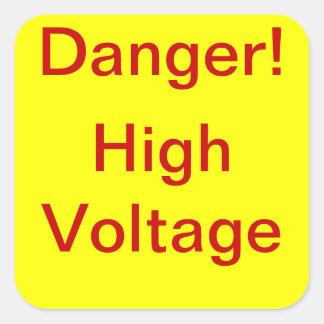 Pegatinas del alto voltaje del peligro pegatina cuadrada