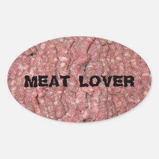 Pegatinas del amante de la carne pegatina ovalada