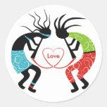 Pegatinas del amor de Kokopelli Etiquetas Redondas