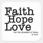 Pegatinas del amor de la esperanza de la fe