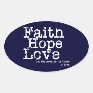Pegatinas del amor de la esperanza de la fe del calcomanías de óvales