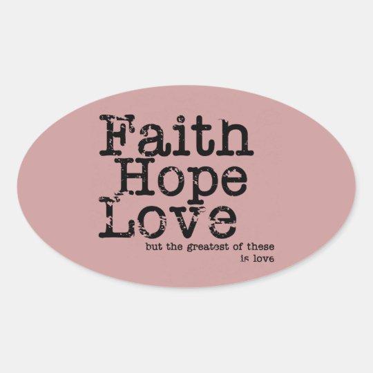 Pegatinas del amor de la esperanza de la fe del pegatina ovalada