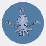 Pegatinas del amor del calamar pegatinas redondas