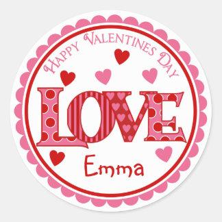 Pegatinas del AMOR del día de San Valentín Pegatinas Redondas