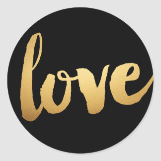 Pegatinas del amor del oro pegatina redonda