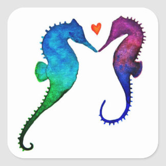 Pegatinas del amor del Seahorse Pegatina Cuadrada