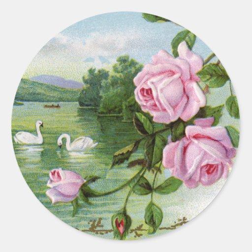Pegatinas del amor del vintage - cisnes pegatina redonda