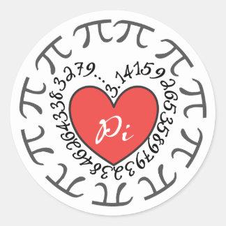 Pegatinas del amor pi 3,14 - corazón rojo y etiquetas redondas