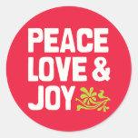 Pegatinas del amor y de la alegría de la paz pegatina redonda