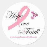 Pegatinas del amor y de la fe de la esperanza etiquetas redondas