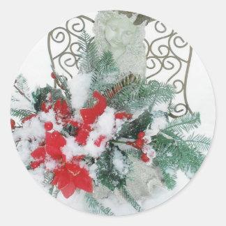 Pegatinas del ángel 2 del navidad pegatina redonda