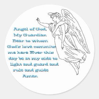 Pegatinas del ángel de guarda pegatina redonda