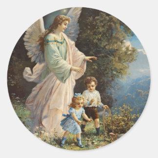 Pegatinas del ángel de guarda del Victorian Etiqueta Redonda