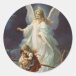 Pegatinas del ángel de guarda del Victorian Pegatina Redonda