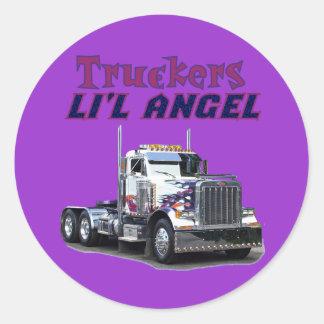 Pegatinas del ángel de L'il del camionero Pegatina Redonda