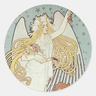 Pegatinas del ángel de Nouveau del arte Pegatina Redonda