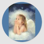 pegatinas del ángel del chica etiquetas redondas