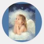 pegatinas del ángel del chica pegatina redonda
