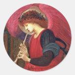 Pegatinas del ángel del navidad - Burne-Jones - Pegatina Redonda