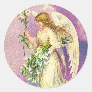 Pegatinas del ángel del Victorian Etiquetas Redondas