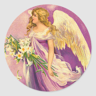 Pegatinas del ángel del Victorian Pegatina Redonda