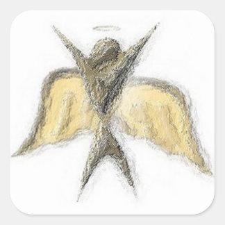 Pegatinas del ángel pegatina cuadrada