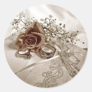 Pegatinas del anillo de bodas pegatina redonda